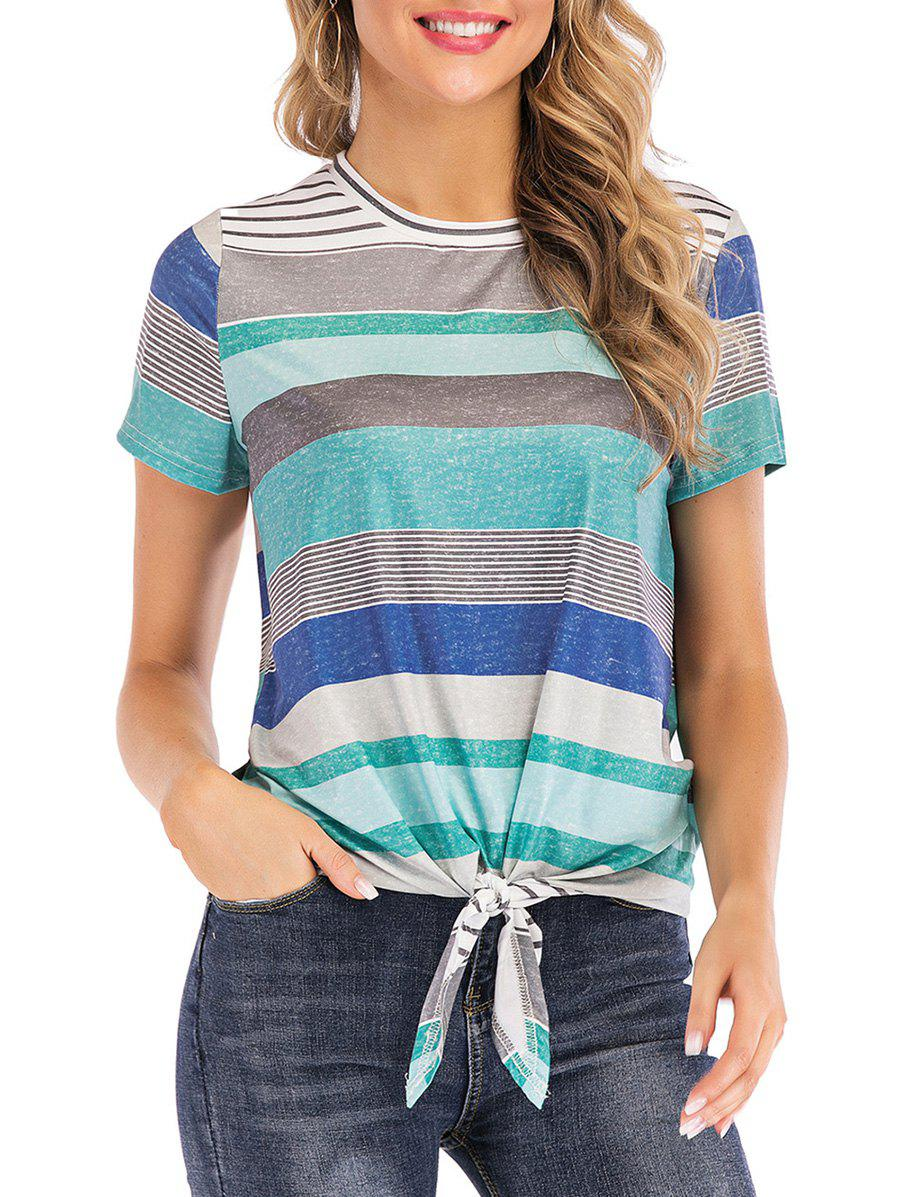Hot Multicolor Striped High Low Tee