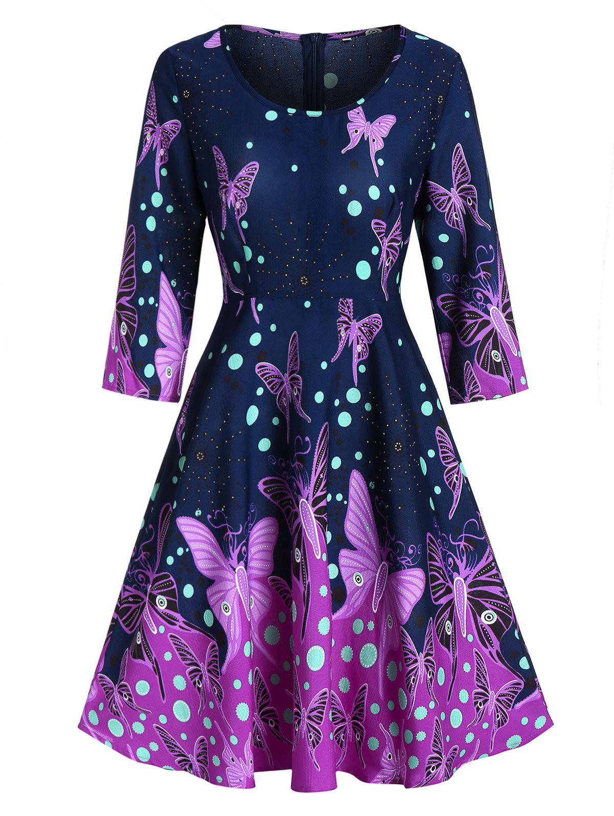 Online Butterfly Print Fit And Flare Zippered Dress