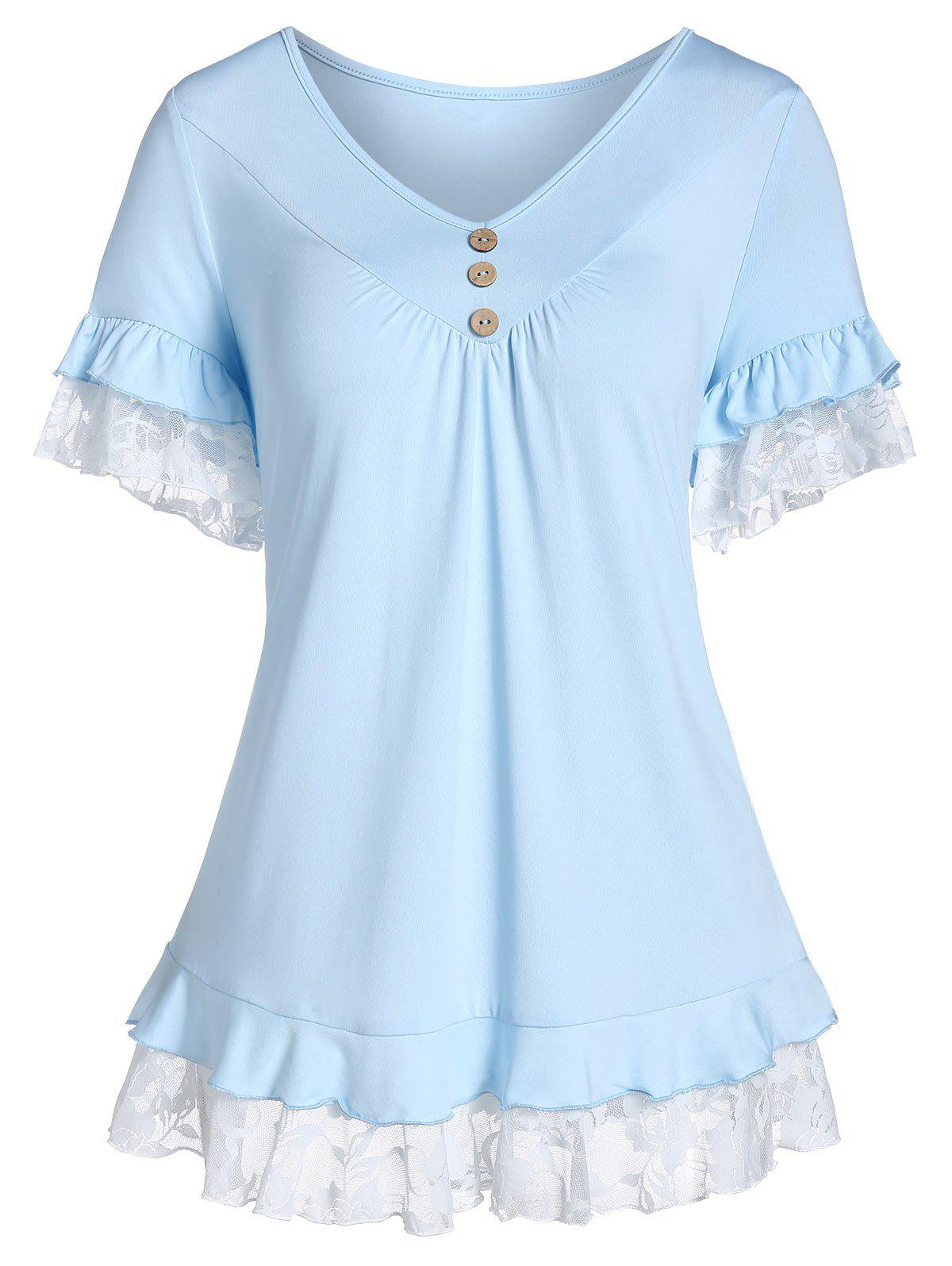 Outfits Lace Insert V Neck Button T Shirt