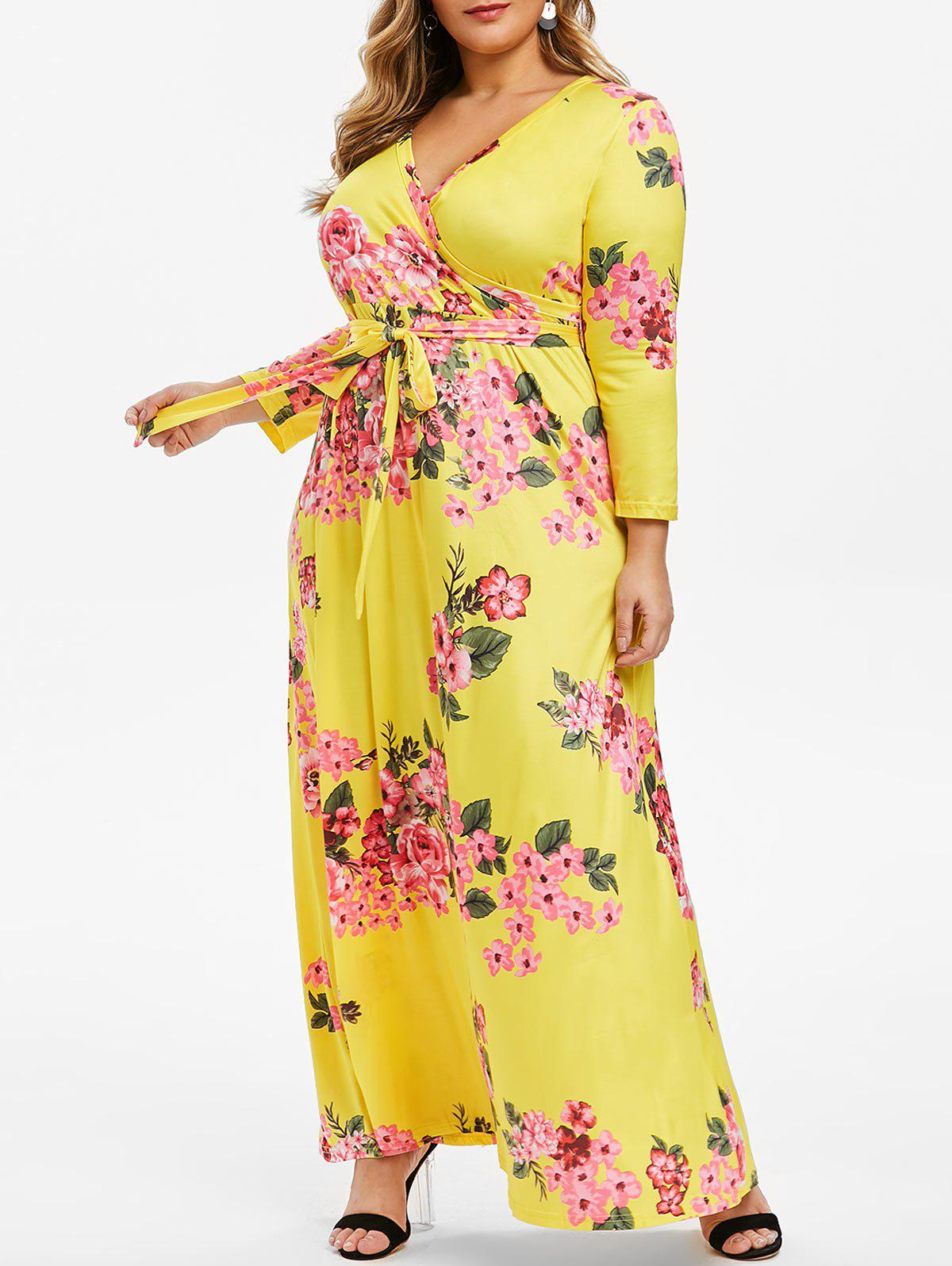 Hot Belted Floral Surplice Plus Size Maxi Dress