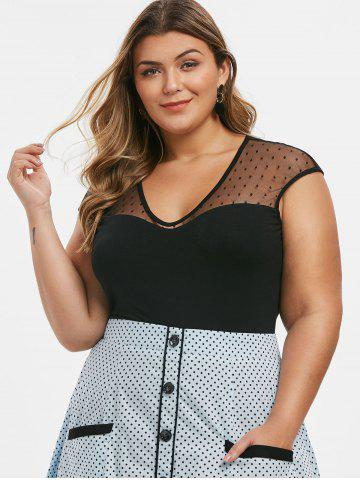 V Neck Dotted Mesh Panel Plus Size Top