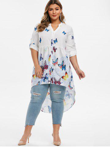 Plus Size Floral Butterfly Print High Low Tunic Blouse