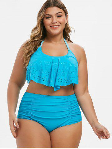 6bc4c666151 Plus Size Laser Cut Braided Blouson Bikini Swimsuit