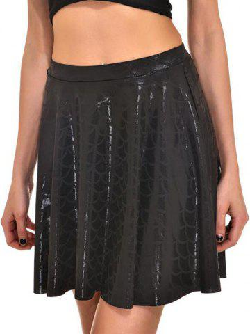 Metallic Scale Print Mermaid Mini Skirt