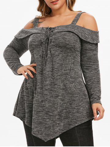 Space Dye Ribbed Cold Shoulder Lace Up Plus Size Top - DARK GRAY - L