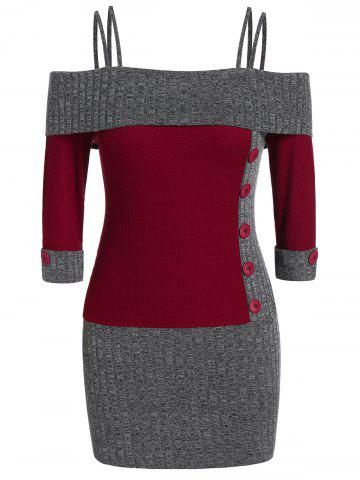Plus Size  Two Tone Knitted Cami Bodycon Dress