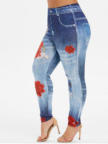 Plus Size Skinny Floral Print High Rise Jeggings - DENIM DARK BLUE - 5X