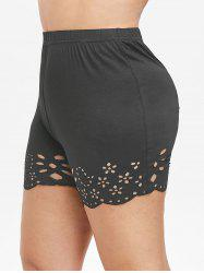 Plus Size Laser Cut Mini Leggings -