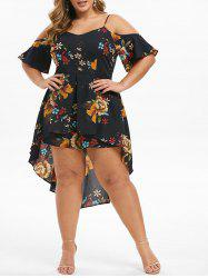 Plus Size Asymmetrical Floral Overlay Cami Romper -
