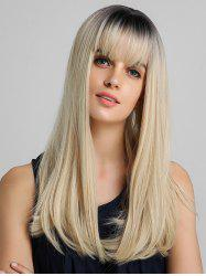 Ombre Neat Bang Straight Long Synthetic Wig -