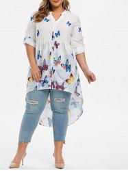 Plus Size Floral Butterfly Print High Low Tunic Blouse -