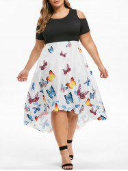 Plus Size Butterfly Print 2 in 1 Dip Hem Dress -