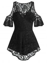 Plus Size Lace Cold Shoulder Sheer Criss Cross Tee -