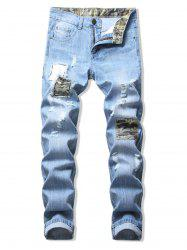 Patchworks Camo Decoration Flanging Jeans -