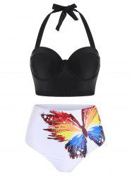 Butterfly Print Underwire Push Up Bikini Swimsuit -