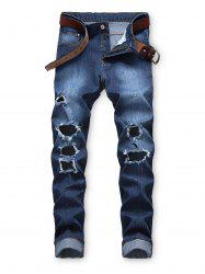 Destroyed Decoration Zip Fly Casual Jeans -