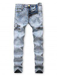 Zipper Decoration Leisure Ripped Jeans -