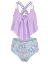 Strappy Flounce Mermaid High Waisted Tankini Swimwear -