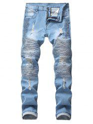 Ruffle Destroyed Design Casual Jeans -