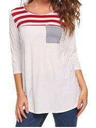 Striped Pocket Casual T-shirt -