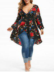 Plus Size Flower Print Asymmetrical Surplice Long Blouse -
