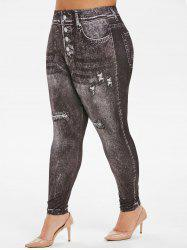 High Waisted Faded Printed Plus Size Jeggings -