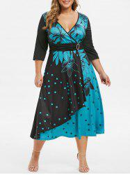 Plus Size Polka Dot Flower Plunging O Ring Dress -