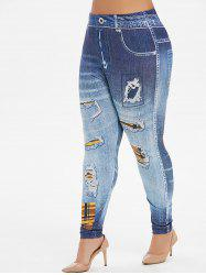 High Waisted Printed Plaid Panel Plus Size Jeggings -