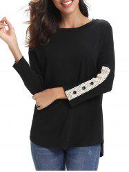 Lace Panel Buttons Long Sleeves Tee -