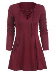 Lace Up Long Sleeve Skirted T-shirt -