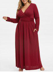 Ruched Seam Pockets Surplice Plus Size Maxi Dress -