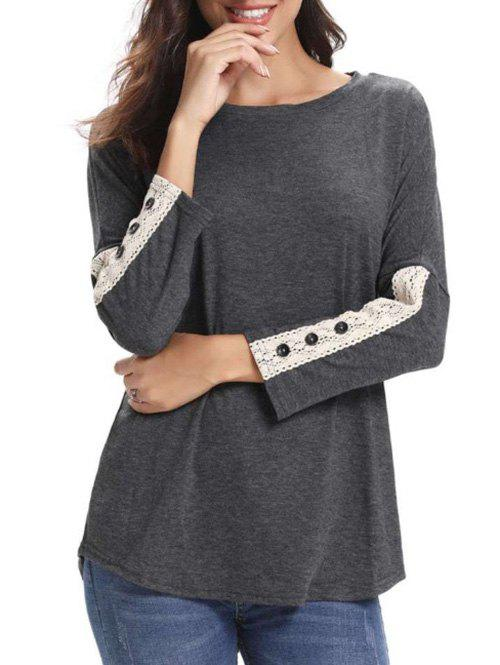 Shops Lace Panel Buttons Long Sleeves Tee