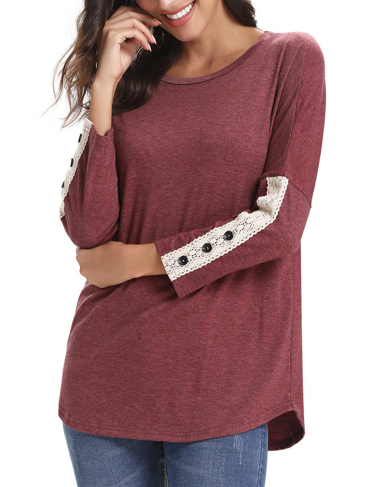 Chic Lace Panel Buttons Long Sleeves Tee
