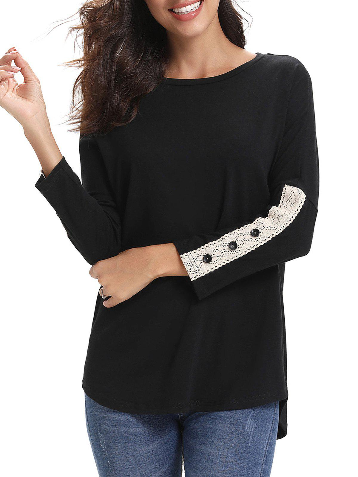 Hot Lace Panel Buttons Long Sleeves Tee