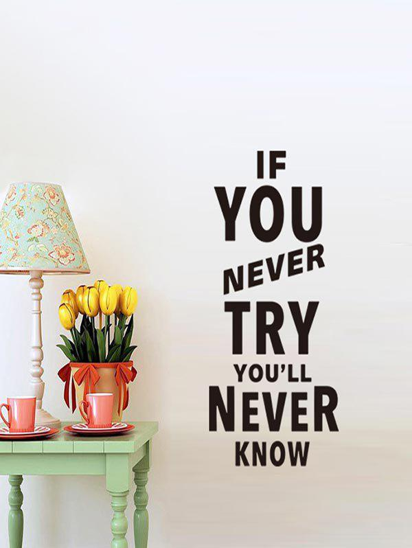 Trendy Try Quote Print Removable Wall Art Stickers