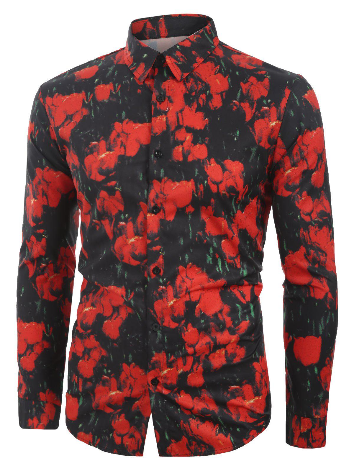 Floral Printed Casual Button Long Sleeves Shirt by Rosegal