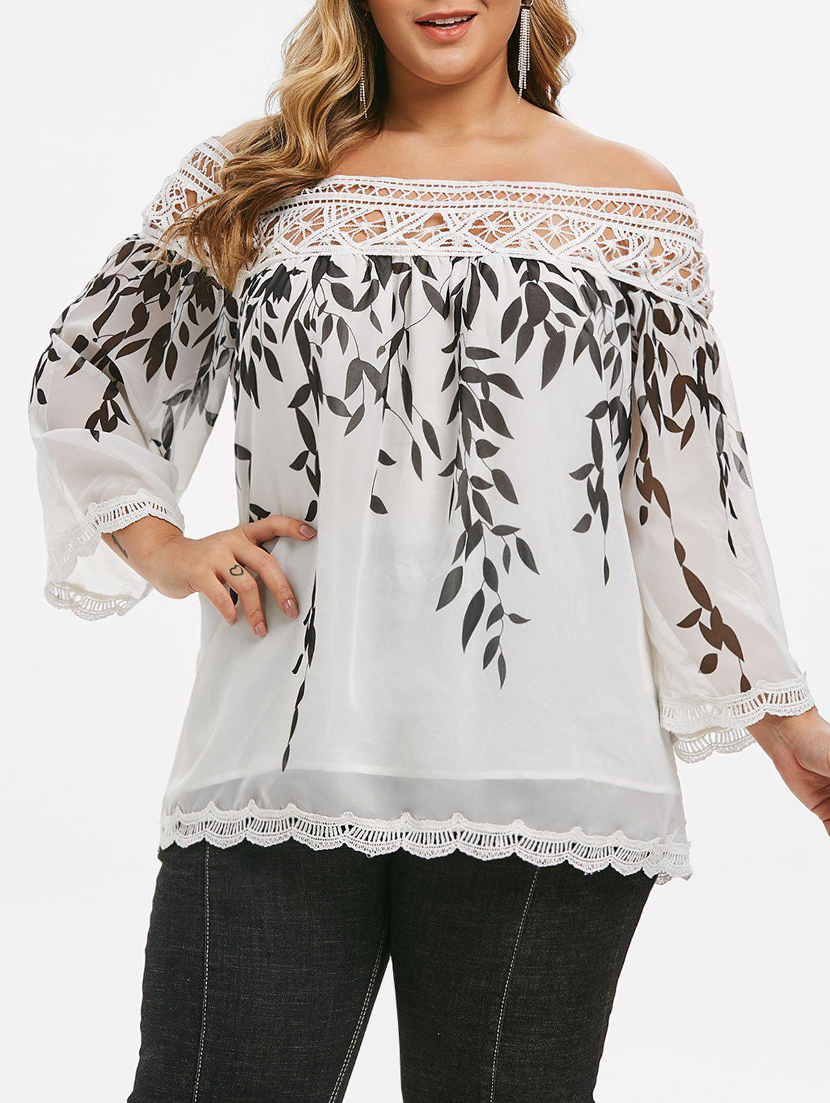 Hot Crochet Lace Panel Scalloped Leaves Print Plus Size Blouse