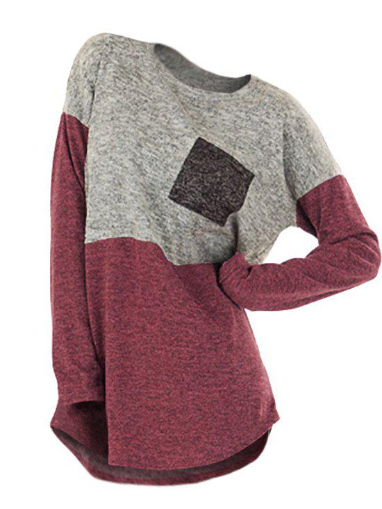 New Plus Size Color Block Drop Shoulder Pocket Knitted Tee