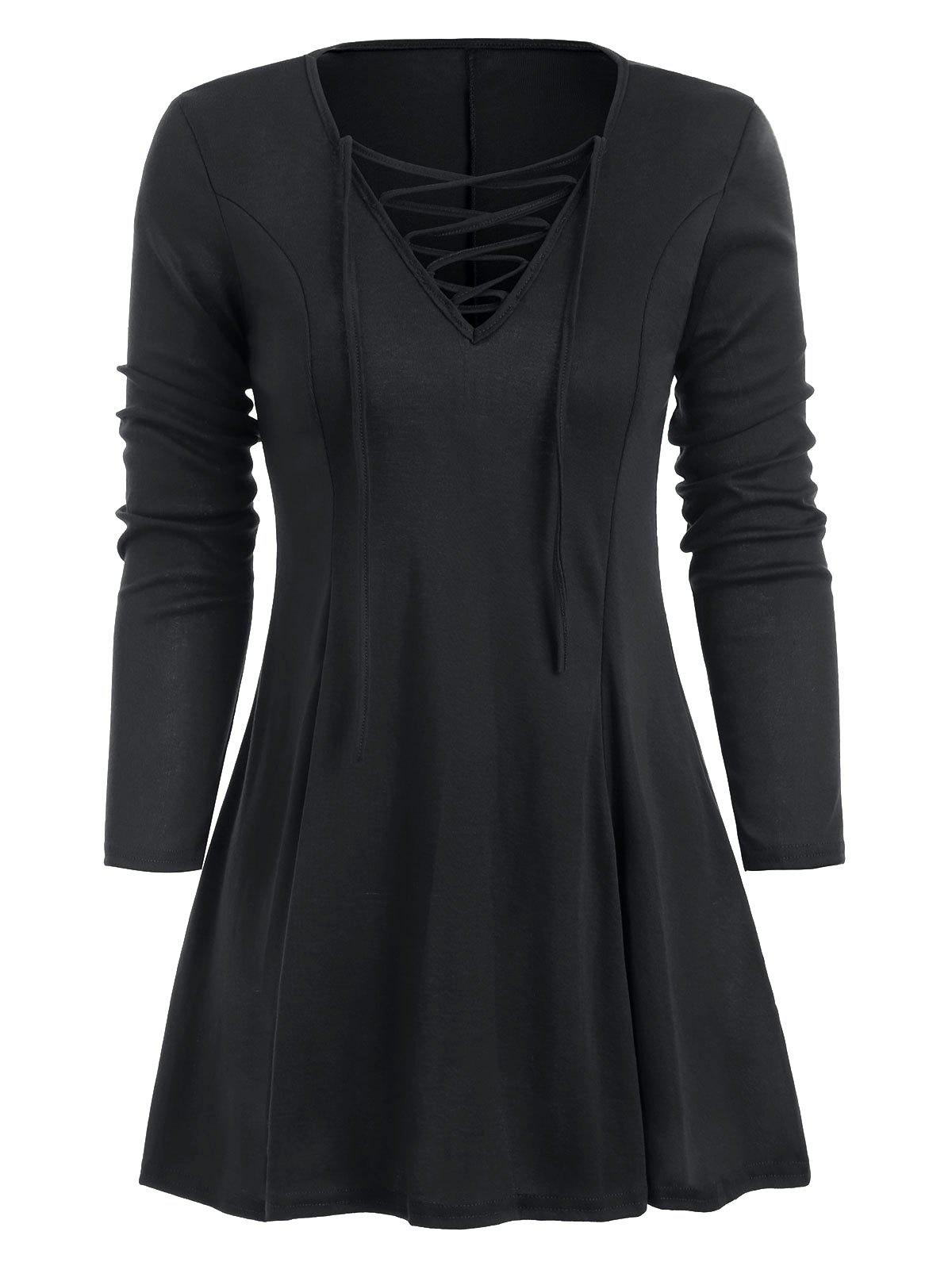 Store Lace Up Long Sleeve Skirted T-shirt