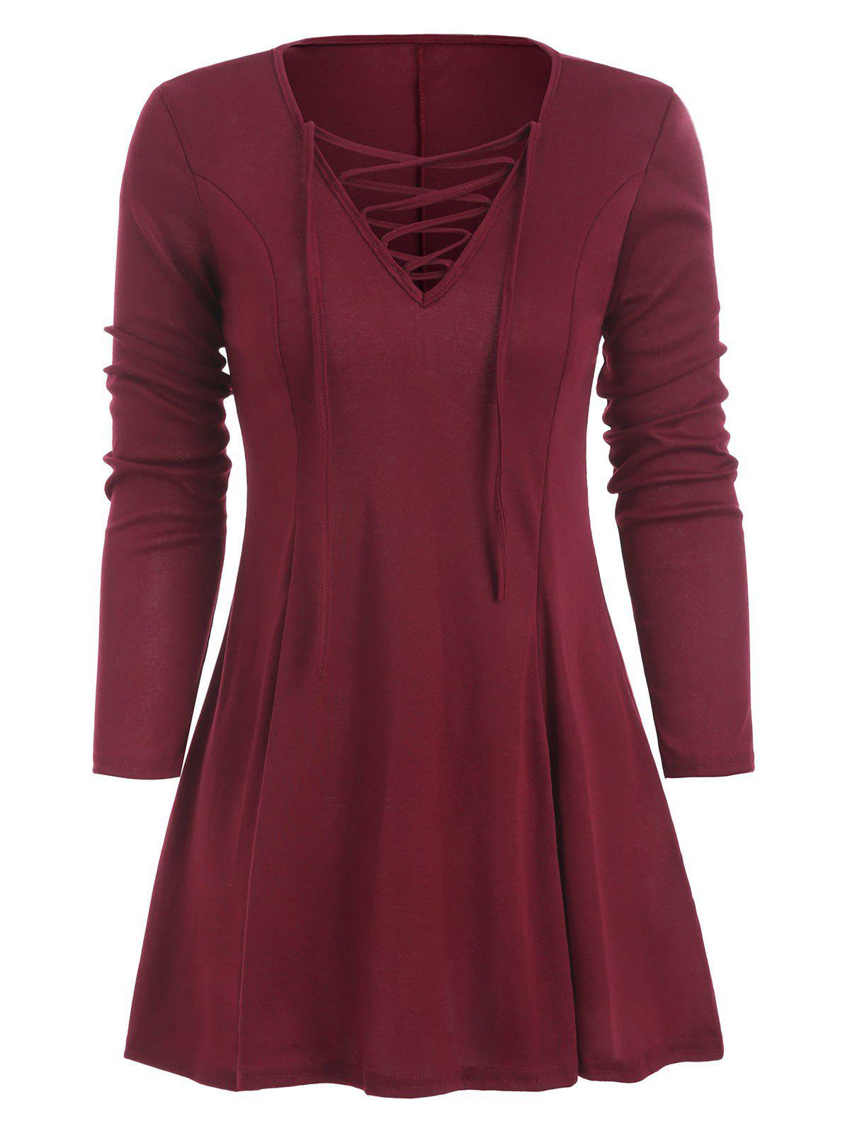 Discount Lace Up Long Sleeve Skirted T-shirt