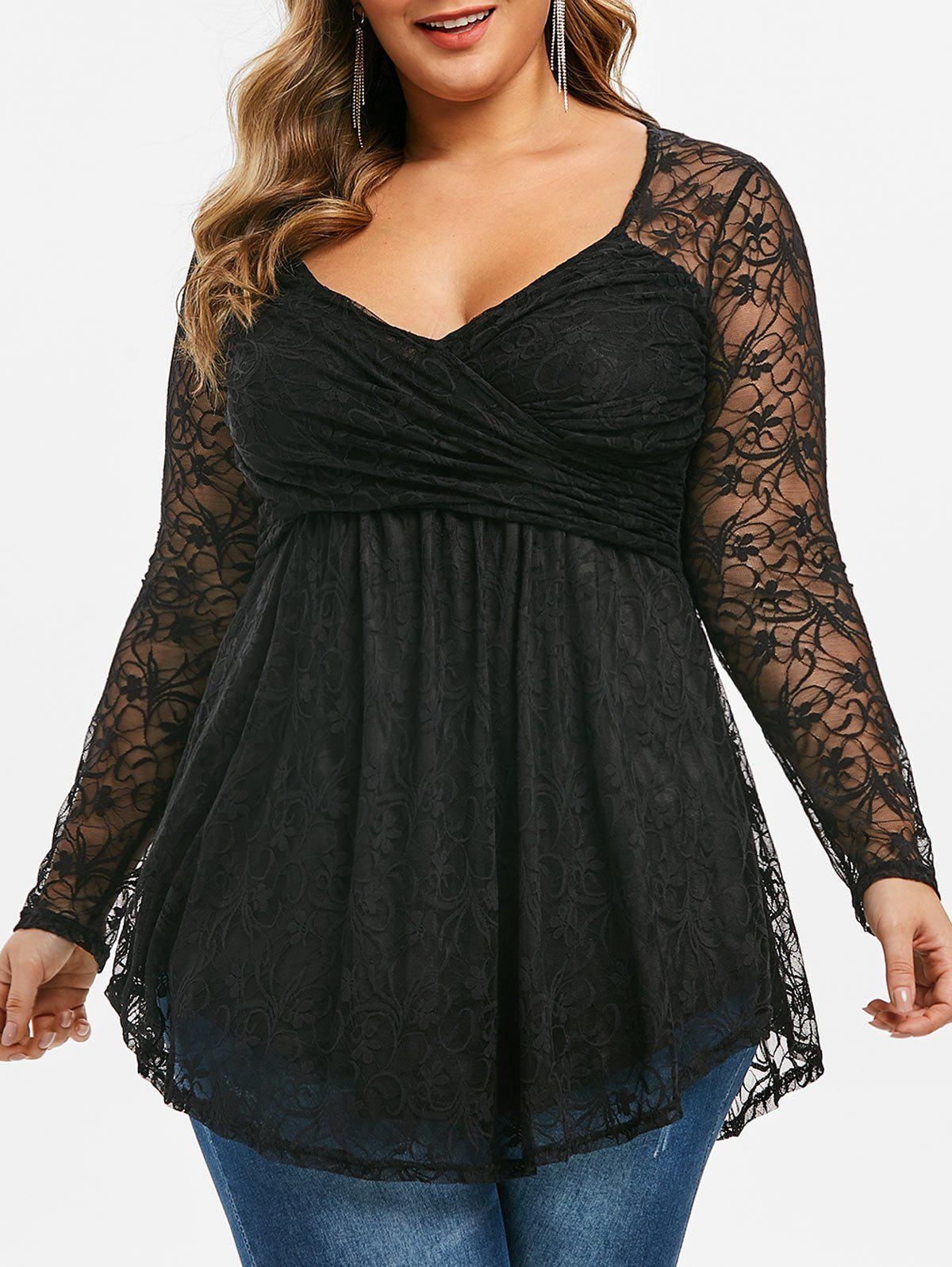 Discount Plus Size Lace Twisted Longline T-shirt