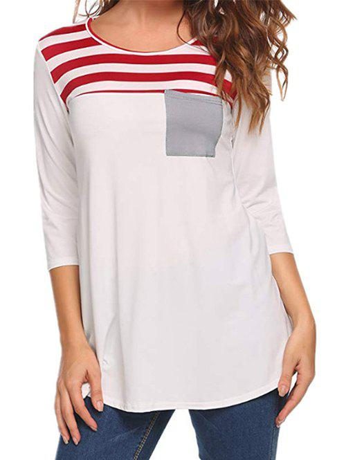 Affordable Striped Pocket Casual T-shirt