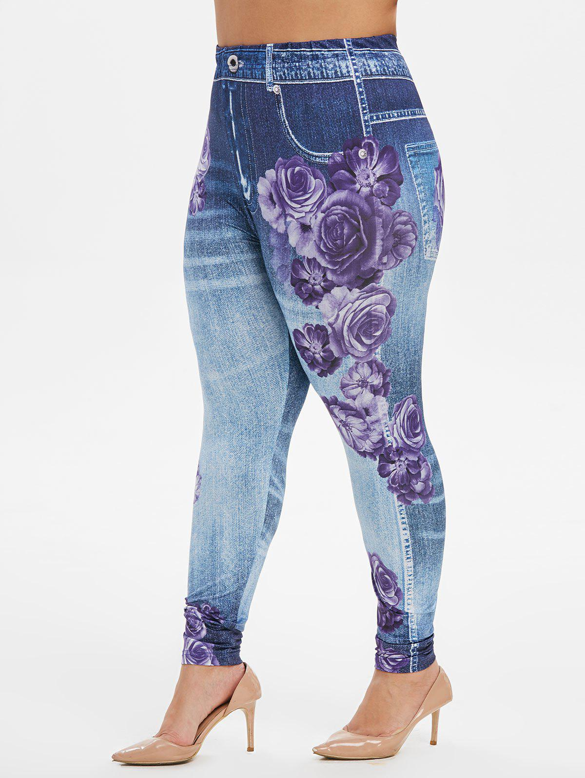 Latest Plus Size High Rise Floral Gym Jeggings