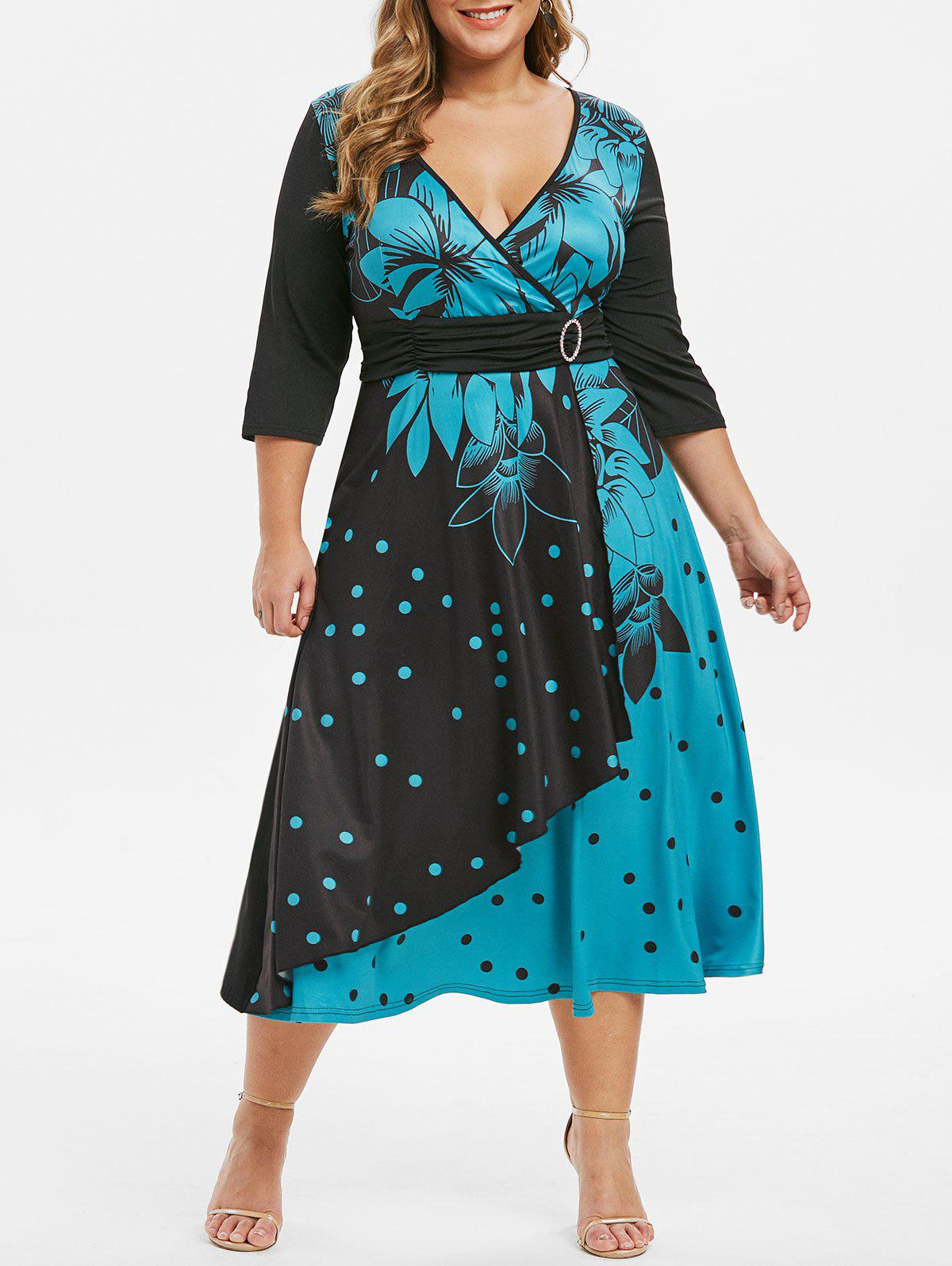 Sale Plus Size Polka Dot Flower Plunging O Ring Dress