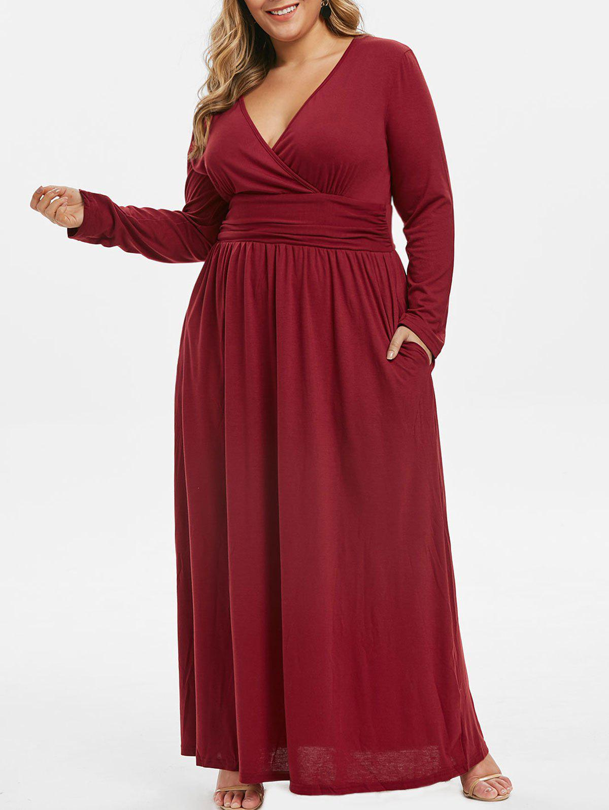 Hot Ruched Seam Pockets Surplice Plus Size Maxi Dress