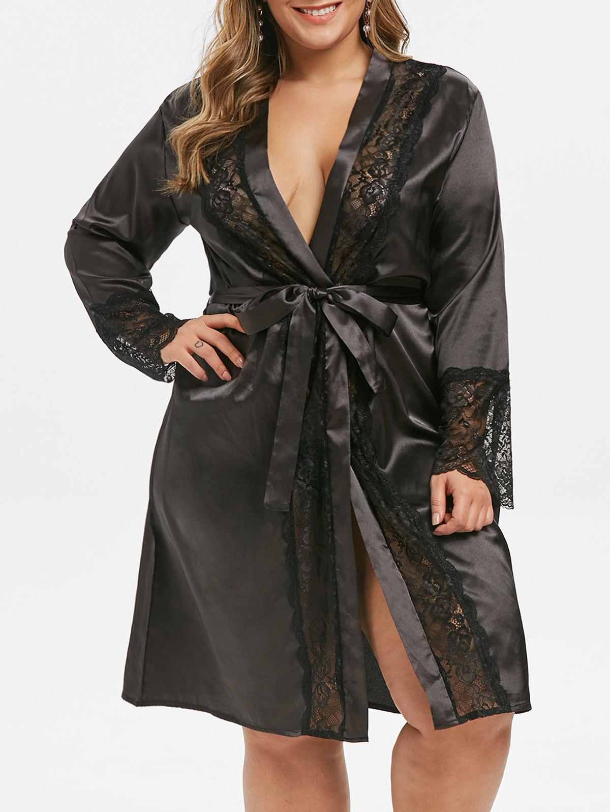 Hot Plus Size Belted Lace Insert Satin Robe