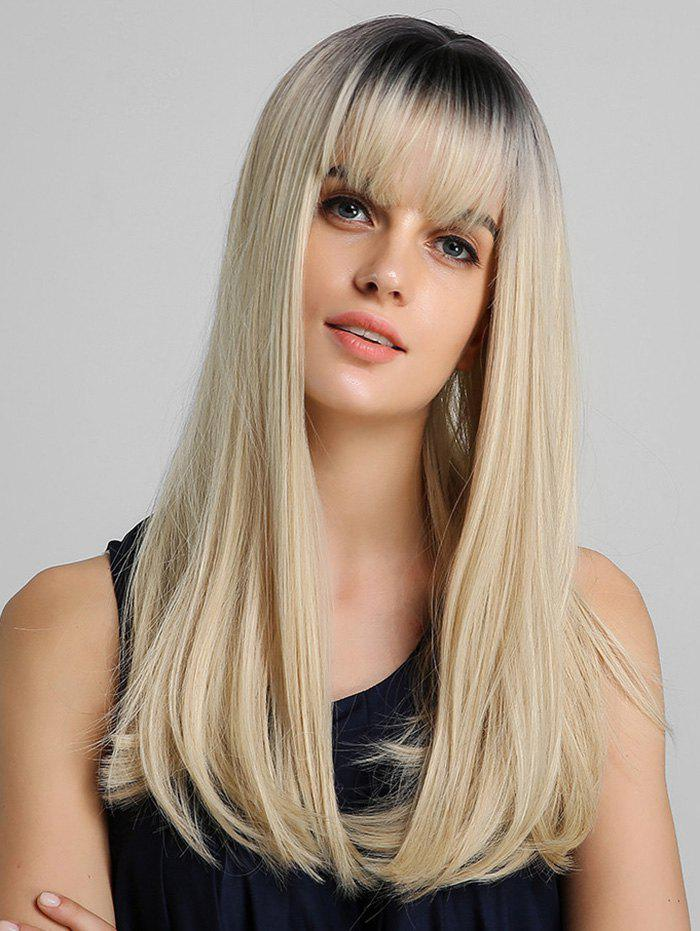 Best Ombre Neat Bang Straight Long Synthetic Wig