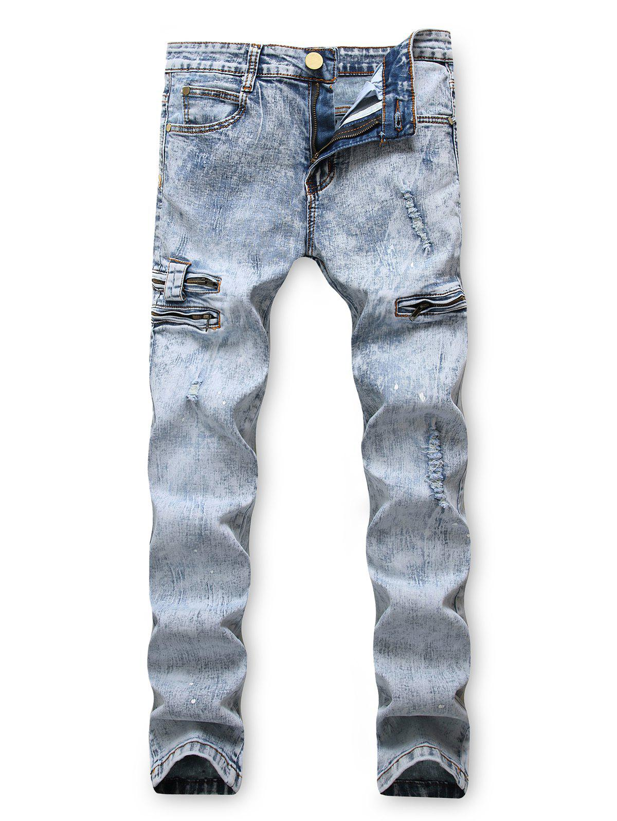 Affordable Zipper Decoration Leisure Ripped Jeans