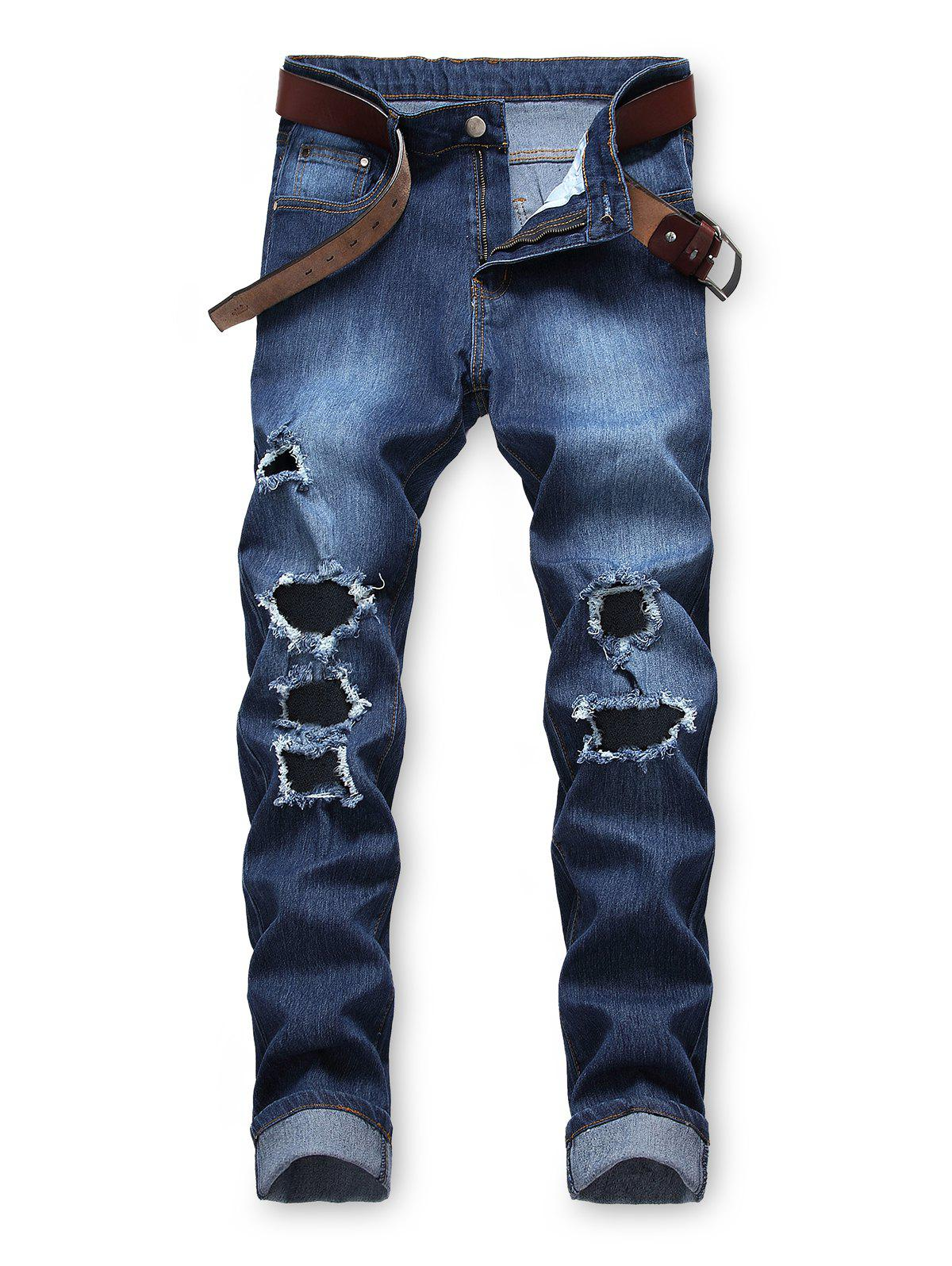Outfits Destroyed Decoration Zip Fly Casual Jeans