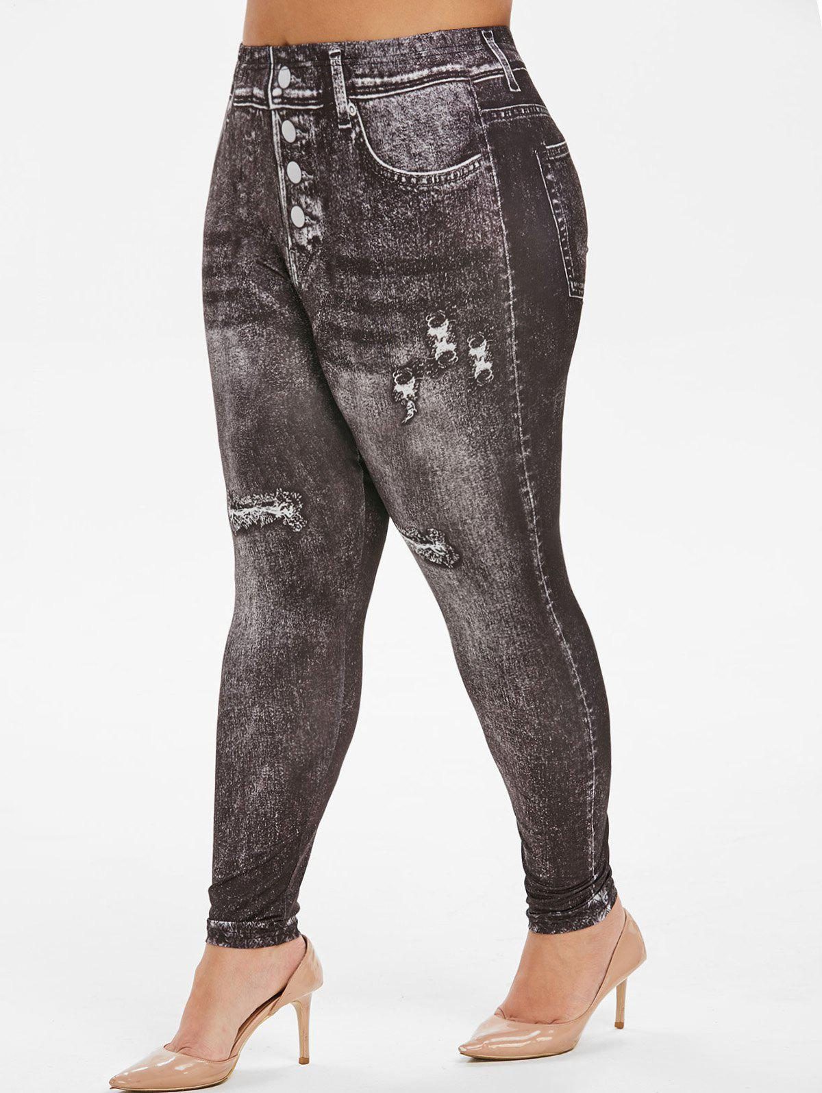 Outfit High Waisted Faded Printed Plus Size Jeggings